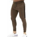 Men's Popular Fashion Colorblock Letter Embroidery Drawstring Waist Casual Sports Sweatpants Pencil Pants