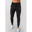 Men's Popular Fashion Letter Printed Drawstring Waist Black Cotton Casual Sports Sweatpants Pencil Pants