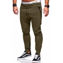 Men's New Fashion Simple Plain Zipped Pocket Zip Cuffs Slim Fit Casual Fitness Pants
