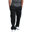 Men's New Fashion Large Flap Pocket Side Simple Plain Drawstring Waist Casual Loose Cotton Sweatpants