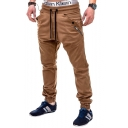 Men's Popular Fashion Solid Color Zipper Embellished Drawstring Waist Elastic Cuffs Casual Cotton Pencil Pants