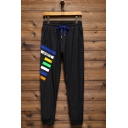 New Stylish Contrast Stripe Letter SPORTS Printed Drawstring Waist Black Casual Cotton Jogging Sweatpants