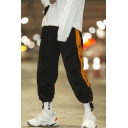 Guys Trendy Colorblock Letter Printed Drawstring Cuffs Loose Fit Black Casual Track Pants