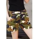Summer Womens Trendy Camo Print Drawstring Waist Loose Fit Cotton Shorts