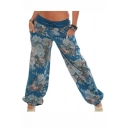 Summer Hot Fashion Cool Street Style Self-Tie Mid Waist Floral Print Bloomers Pants