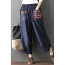 Summer Hot Fashion Folk Style Patch Cotton Linen Elastic Waist Casual Loose Wide Leg Pants