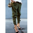 Womens Hot Stylish Plain Casual Military Tactical Buckle-Cuff Harem Pants