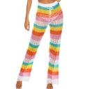Womens Hot Sexy Rainbow Knit Cutout Crochet High Waist Self-Tie Beach Pants