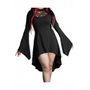 Womens Cool Black High Neck Lace Patch Cutout Bell Sleeve Asymmetric Hem Mini Gothic Dress