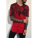 Mens Cool Tie Dye Floral Printed Round Neck Short Sleeve Fitted Hipster T-Shirt