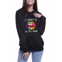 Cool Rainbow Lip Letter I LICKED IT Print Long Sleeve Black Graphic Hoodie
