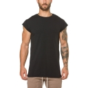 Muscle Guys Basic Simple Plain Round Neck Cap Sleeve Breathable Training Fitness T-Shirt
