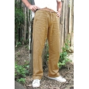 Men's Simple Plain Solid Color Drawstring Waist Casual Loose Wide Leg Pants