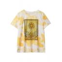 Floral Sun MYSTICALLIFE Yellow Tie Dye Round Neck Short Sleeve Loose Tee