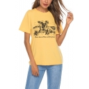 Summer Cool Cowboy Print Round Neck Short Sleeve Yellow Graphic Tee