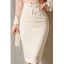 New Arrival Hot Sale White Bow-Front Shaped Sexy Slim Fitted Midi Skirt