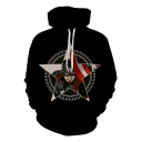 Cool Unique Black Comic Star Print Long Sleeve Loose Fit Hoodie