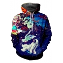 Ink Galaxy Astronaut 3D Printed Long Sleeve Sport Loose Drawstring Blue Hoodie