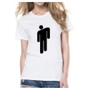 Funny Simple Puppet Print Round Neck Short Sleeve Fitted White Tee