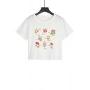 Summer Hot Popular Letter Floral Print White Short Sleeve Crop Tee