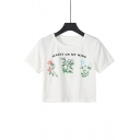 Fashion Floral Letter ALWAYS ON MY MIND Pattern Round Neck Short Sleeve White Crop T-Shirt