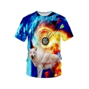 Cool Fire Wolf Dart Board 3D Print Blue Short Sleeve Round Neck Loose Tee