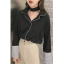Hot Trendy Womens Lapel Collar Contrast Trim Striped Long Sleeve Button Front Loose Chiffon Sleeve