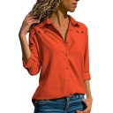 Hot Stylish Womens Plain Button Down Eyelet Embellished Long Sleeve Chiffon Shirts