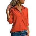 Hot Stylish Womens Plain Button Down Eyelet Embellished Long Sleeve Chiffon Shirts