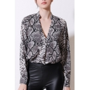 Hot Popular Leopard Print Plunge V Neck Stand Collar Long Sleeve Chic Shirts