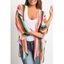 Summer Womens Hot Popular Striped Print Asymmetric Hem 3/4 Sleeve Open Front Sunscreen Chiffon Shirts