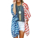 Summer Hot Fashion Star Striped Print Chiffon Short Sleeve Oversize Casual Loose Cardigan Shirt