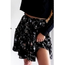 New Arrival Fashion Fancy Black Floral Print High Waist Pleated Mini Skirt for Sweet Women