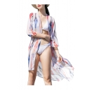 Hot Trendy Womens Tie Dye Half Sleeve Chiffon High Low Hem Tunic Cardigan Shirt