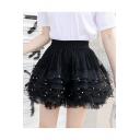 Summer Hot Popular Elastic Waist Beading Embellished Pleated Mini Layer Puffy Skirt