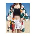 Hot Stylish Sunflower Leaf Printed Tie Waist Chiffon Holiday Beach Sunscreen Cardigan Shirt