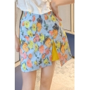 Stylish Sweet Womens Floral Print Split Front Fitted A-Line Mini Skirt