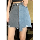 Summer Hot Fashion High Waist Patchwork Zip-Front Asymmetric Hem Mini A-Line Denim Skirt