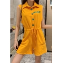 Summer Stylish Plain Right Letter Lapel Collar Drawstring Waist Button Down Sleeveless Sweet Rompers