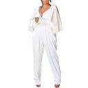 Womens Hot Trendy Plunge V Neck Split Long Sleeve High Waist Plain Classic Jumpsuits