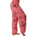 Womens New Stylish Elastic Waist Butterfly Printed Leisure Loose Wide Leg Pants