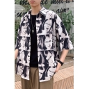 Guys Summer Cool Allover Comic Character Print Button Front Over Shirt