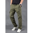 Men's Simple Fashion Solid Color Cotton Casual Straight Cargo Pants with Zipped Pocket