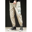 New Fashion Colorblock Multi-pocket Drawstring Waist Casual Cargo Pants for Men