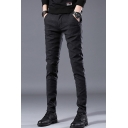 Men's Fashion Simple Plain Cotton Fitted Suit Pants Dress Pants