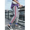 Guys New Fashion Plaid Pattern Contrast Stripe Side Drawstring Waist Grey Casual Pants