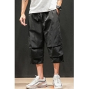 Men's Summer Trendy Letter Printed Ruffled Detail Drawstring Waist Cropped Casual Track Pants