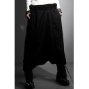 Men's New Fashion Solid Color Black Loose Fit Drop-Crotch Culottes Harem Pants