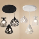 Industrial Creative Hanging Light 3 Bulbs Metal Pendant Light in Black/White for Coffee Shop