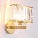 Contemporary Rectangle LED Wall Light Metal Gold Sconce Light with Clear Crystal for Porch Balcony